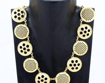 Vintage Gold Button Toggle Necklace