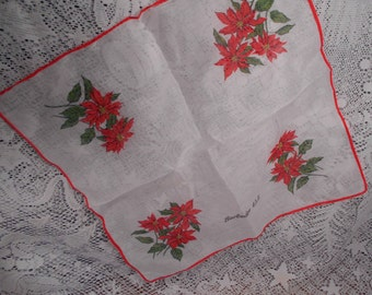 Vintage Barbados West Indies Hanky with Poinsettias