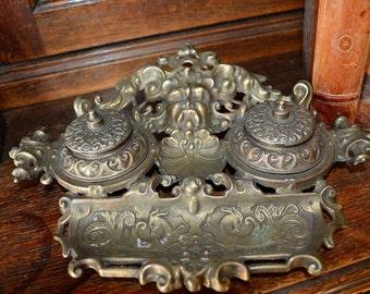 Antique French Brass Inkwell Gargoyle Greenman Deer Beautifully Detailed