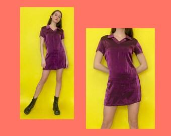 Vintage 90s Y2k 2000s Purple Iridescent Short Sleeve Collared Club Kid Mini Dress