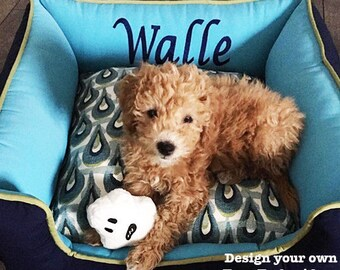 Navy Blue Custom Dog Bed | Order this one or choose your fabrics and design your own | Free name embroidery