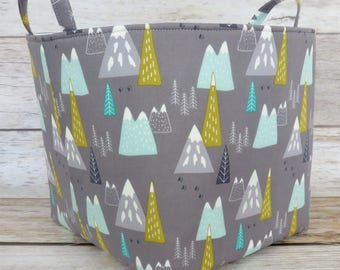Fabric Organizer Bin Toy Storage Container Basket -  Mountains Peaks Woodland  - 10 in x 10 in x 10 in - Nursery Baby Room Decor