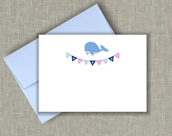 Blue Baby Shower Thank You Cards/ Boy Baby Shower /Thank You Cards /Baby Whale Nautical Note Cards