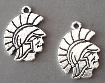 4pcs-silver tone Spartans Charm