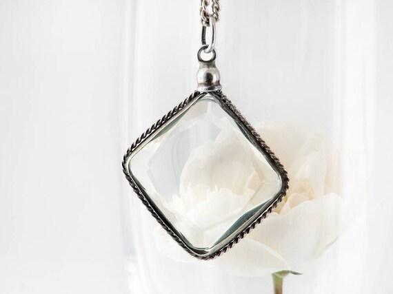 Antique Locket | Edwardian Sterling Silver Screw Top Locket | Diamond Shape Cut Crystal Side Locket, Memento Locket - 20 Inch Sterling Chain