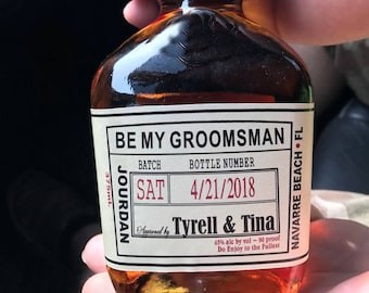 Be my Groomsman Labels - Will you be my Groomsman - Wedding Groomsman Liquor Labels  - Groomsmen Labels -  Wrap around