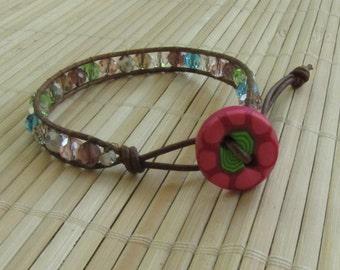 SALE Item - Single Leather Wrap Bracelet Multicolored Beaded Friendship -  Bohemian Style Jewelry