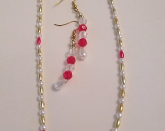 2 Piece Pearl like Necklace and Earrings