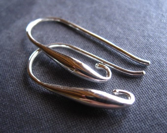 Smooth Elongated Drop French Ear Wires in Solid STERLING SILVER - plain and simple