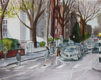 London - Abbey Road - Giclee Print from Original Watercolor Painting 12x16
