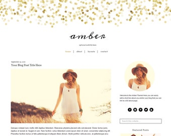 WordPress Theme - Gold WordPress Blog Theme - Feminine WordPress Template - WordPress Theme Responsive - Genesis