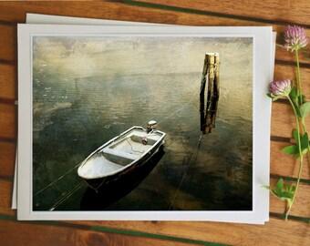 Meer-Foto, skandinavische Naturfotografie, Foto Gemälde, Boot im Himmel, moderne Wohnkultur, Reisefotografie, Bild 5 x 7