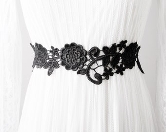Bridal Lace Flower Sash Belt - Wedding Dress Sashes Belts - Ribbon Belt Flower Girl Bridesmaid Embroidery Lace Belt