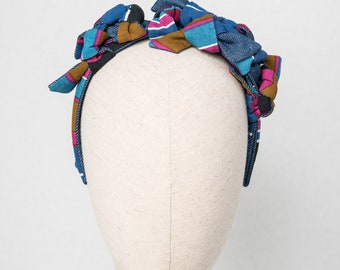 """HEADPIECE """"knots"""" jeans and colored fabric"""