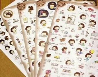 Helloday Sticker Set Ver 3 -  Masking Sticker Set - Diary Stickers - Deco Sticker Set - 5 sheets