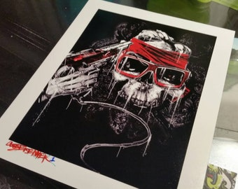 Headshot, 8x10, Video Game, Street Art, wall art print, Cole Brenner, SNES ,  Gifts for Guys, skull, b&w, Art Print, Black, deer hunter, gun