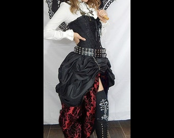 Readytoship 3PC Black SATIN Corset /long Wine & Black Damask, short black DOUBLE Bustle Skirt, Steampunk, Victorian, Cosplay, Costume, Dress