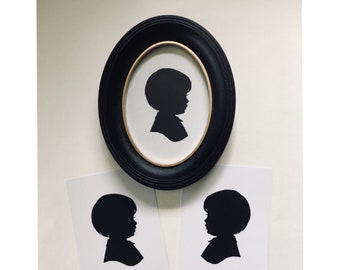 """FRAMED Silhouette, Custom Hand Cut Portrait, Single Subject in Classic Disney Black Oval 5x7"""" Frame, Comes with Two Additional FREE Copies"""