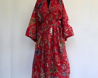 Kimono dressing gown red and multicolor designs pailsley