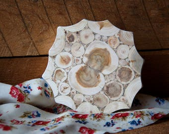 Juniper Wood Trivet, Natural Handmade Coaster, Rustic Home Decor, Wooden Kitchen Utensil, Untreated Wood