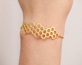 Honeycomb Bracelet, Beehive Bracelet, Geometric Bracelet, Gold Geometric Bracelet, Nature Bracelet, Friendship bracelet, Bridesmaid gift