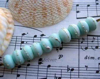 Simply Seafoam - 10 x Handmade Lampworked Pure Silver Trailed Etched Seaglass Spacer Beads