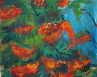 Rowan tree- Original art oil painting - 16×16 inches