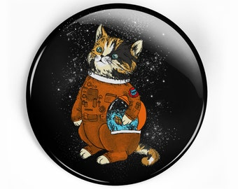 Astronaut cat pin button, fish bowl pin, cat in a space suit, space cat pin, cute pin, astro cat badge, cat lover pin, space lover pin