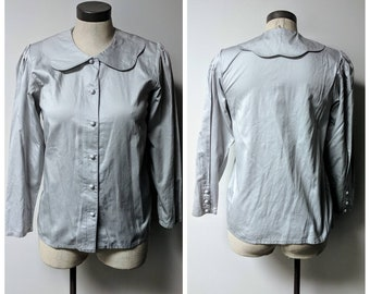 Vintage Clothing, 1980's 1990's Vintage Blouse, Grey Ladies 100% Cotton Button-up Shirt, Covered Buttons, Seashell Brand, Ladies Size M