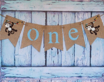 Monkey ONE Burlap Banner, Our Little Monkey Banner, Personalized Name Banner, Little Monkey Decor, B293