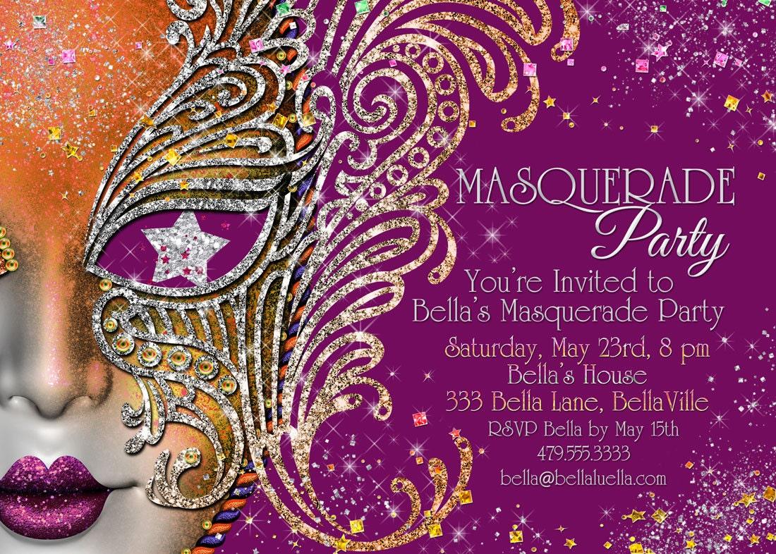 Mascarada mascarada invitación Mardi Gras partido