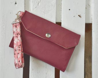 Women's wallet in imitation leather and fabric peach blossoms