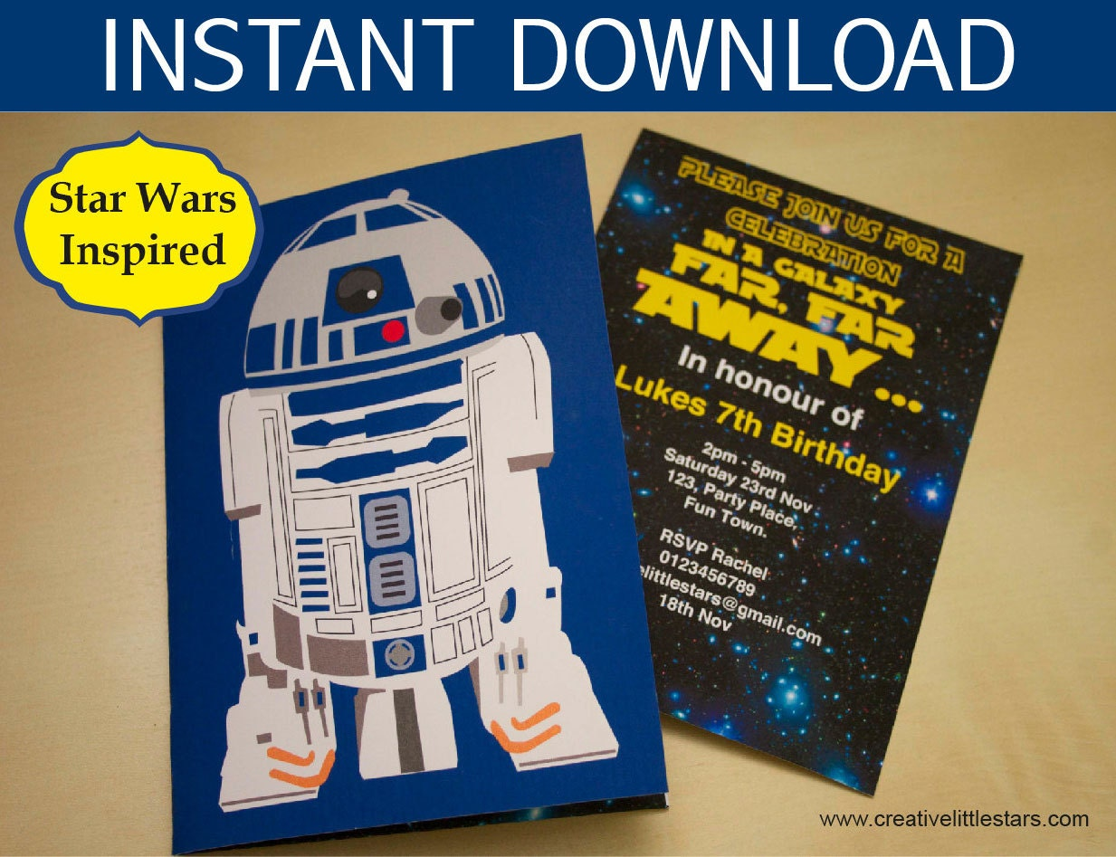 Star Wars Party Invitation instant download