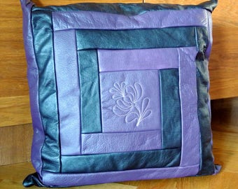 Unusual one-of-a-kind new/unused pillow of highquality purple lilac/black skin/leather in log cabin pattern+flower decor,alike at both sides
