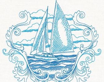 Sails Away Etching embroidered kitchen tea towel, flour sack, 100% cotton towel, dishtowel.