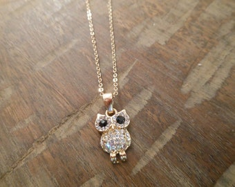 Gold Owl Necklace - Gold Rhinestone Owl Necklace - Owl Necklace - Bird Necklace