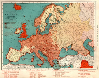 1941 Antique Wartime EUROPE Map Vintage Map Of Central Europe Map Collector  Gift For Historian Anniversary