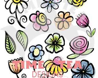 Blooming Lovely Embellies & Sentiments Digital Stamp, Line Drawing Illustration, Paper Craft, Adult Colouring, card making