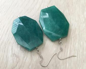 Large Green Earrings Green Gemstone Earrings Green Statement Earrings Green Geometric Earrings Big Green Earrings Big Bead Earrings Faceted