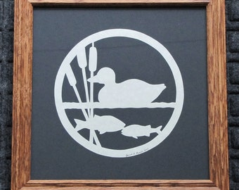 Duck-Fish-Cattails  - Scherenschnitte - Hand Paper Cutting Art signed and dated By Janet Lynch - Framed