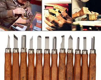 12pcs Wood Carving Hand Chisel Tool Set Woodworking Professional Gouges + Box