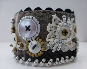 ROMANTIC, vintage VELVET, embroidered cuff, vintage buttons, beads and braid. UK seller