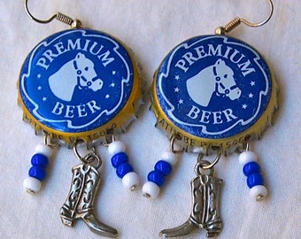 Horse Earrings, Blue, Bottle Caps, Upcycled, Cowboy Boots, Recycled, Cowgirl, Western,  Beer Lover Gift, Horse Lover Gift