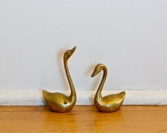 Vintage brass swan figurines…brass swans.
