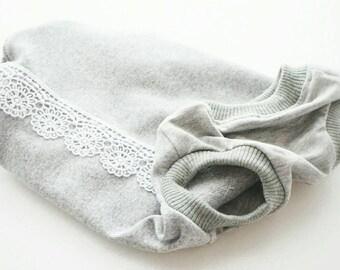 Dog clothing/Stylish grey lacy shirt