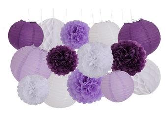 14Pcs Purple Lavender White Party Tissue Pom Poms Honeycomb Paper Flower Ball Bridal Shower Wedding Birthday Girl Nursery Hanging Decoration