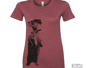 Womens River OTTER T Shirt -hand screen printed s m l xl xxl (+ Colors Available) custom
