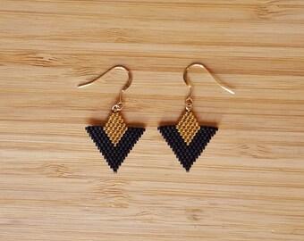 Loops Tika black gold plated and glass Miyuki beads weaving