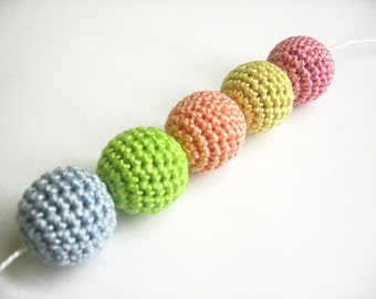 Crocheted beads 20 mm handmade round light pastels 5 pc color mix or choose Your color