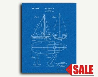 Patent Poster - Sailboat Patent Wall Art Poster Print